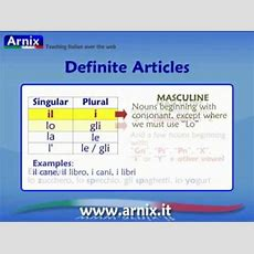 Italian Articles  Part 1 Definite Articles Youtube