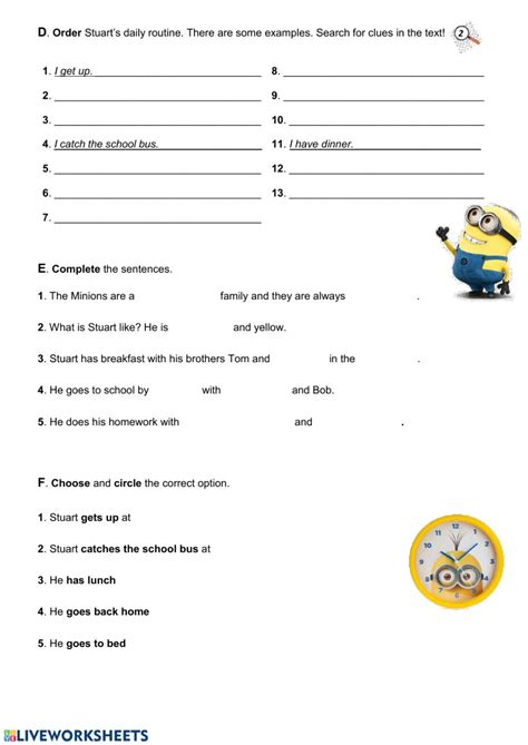 daily routine test interactive worksheet