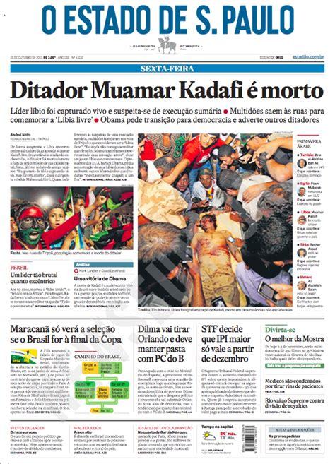 compare  morte de kadafi em  jornais  brasil   mundo