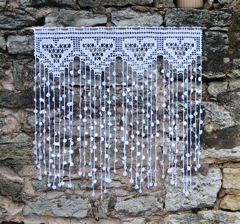rideauretro vintage en filet de crochet motifs coeurs