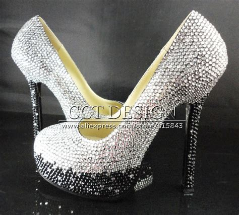 chagne colored wedding shoes black grey and silver color mixed crystals color gradual
