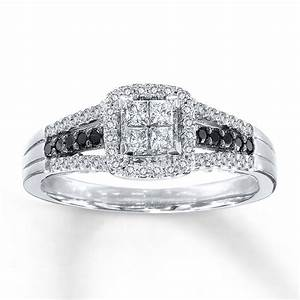 Gallery for gt black and white diamond engagement rings for for White diamond wedding ring