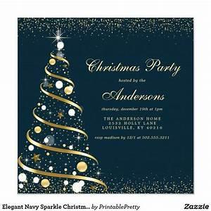 Elegant Navy Sparkle Christmas Tree Party Invitation