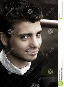 Portrait Young Handsome Man With Blue Eyes Stock Photo