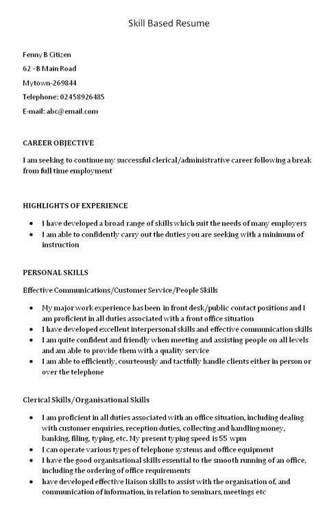 Resume Personal Skills by Skills Based Resume Template Learnhowtoloseweight Net