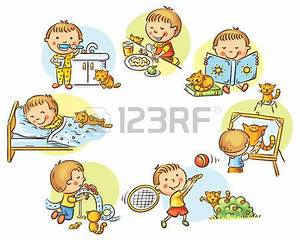 Child clipart daily routine - Pencil and in color child ...
