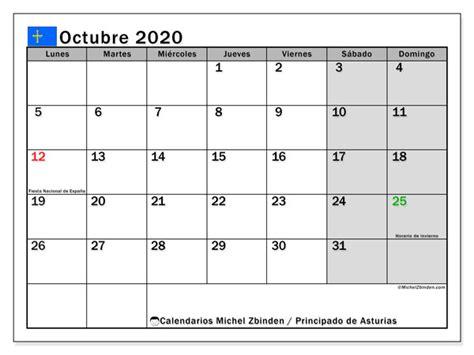 calendario octubre principado de asturias espana