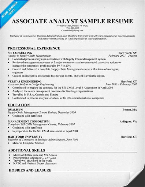 Associate Business Analyst Resume sle resume for business administration major