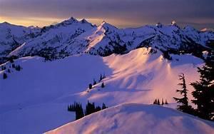Snow Mountain Sunset wallpaper