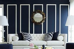 Opulent concept of living room decor with navy