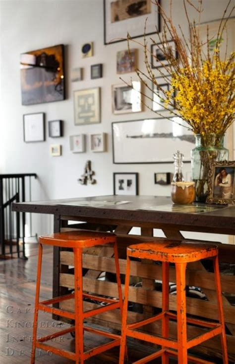 For a detailed look at kitchen island designs, countertop materials, dimensions, and additional features, check out our guide on buying a kitchen island. Kitchen Island with industrial Stools painted orange ...