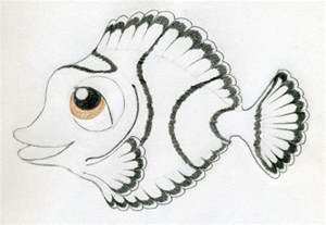 Pencil Drawings of Cartoon Fish