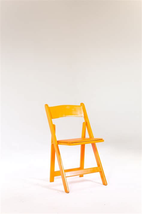 signature rentals orange wood folding chair rentals