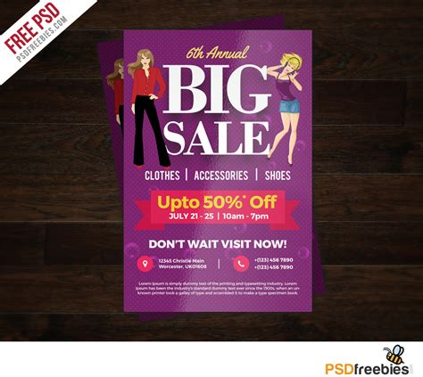 Colorful Flyer Psd Template Free Download by Big Sale Colorful Flyer Free Psd Template Psdfreebies