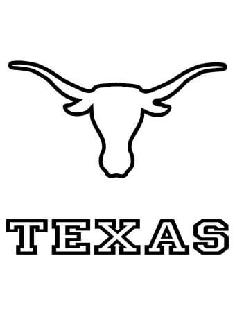 longhorns texas team coloring page supercoloringcom