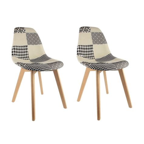 lot de 2 chaises pas cher au design scandinave patchwork