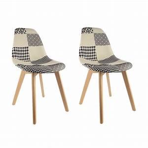 Lot De Chaises Design Pas Cher : lot de 2 chaises pas cher au design scandinave patchwork noir et blanc ~ Melissatoandfro.com Idées de Décoration