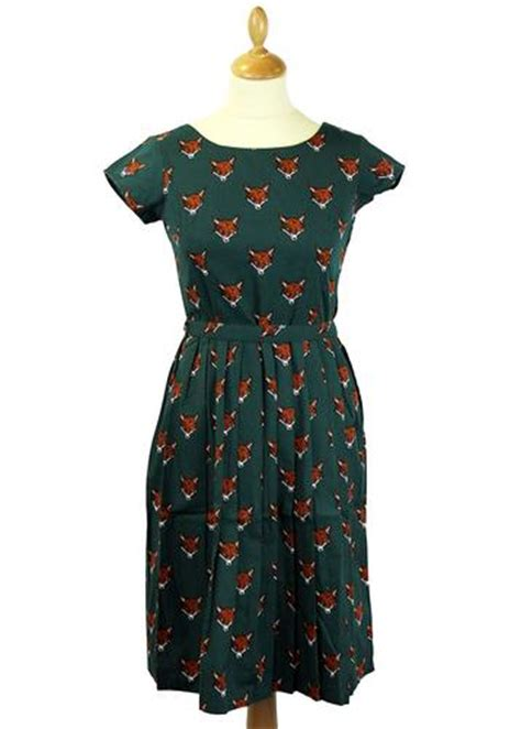 foxy retro  vintage summer tea dress  green
