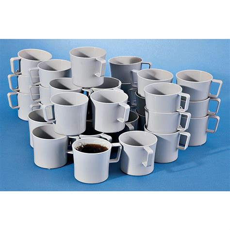 (coffee mug) a mug intended for serving coffee. 30 Swedish Military - issue Coffee Cups, Gray - 132495, Mess Kits & Cooking at Sportsman's Guide