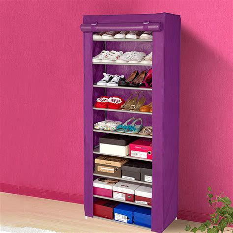shoe rack ideas for small spaces small portable shoe rack storage and shelves with 9 tiers plus purple color covered shoe rack