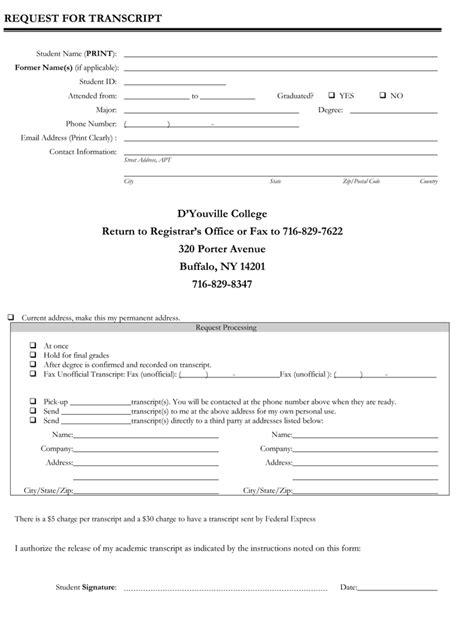6 Printable Transcript Request Templates