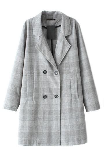 gray ladies long sleeves lapel classic plaid trench pea