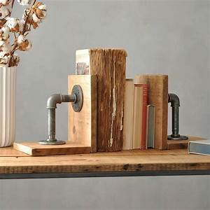 Pair, Of, Industrial, Wood, And, Steel, Bookends, By, Industrial, By, Design