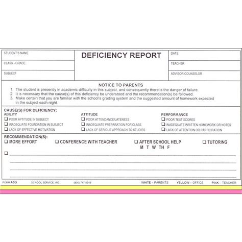 45g deficiency report carbonless forms