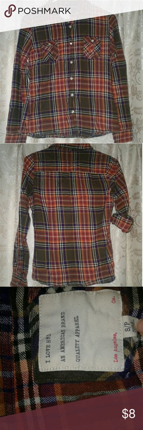 Flannel Shirt Small Plaid Cute For Fall Long Sleeves Can