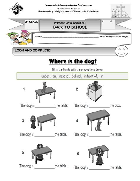 Complete Sentences Worksheet Prepositions Worksheets In On Complete The Sentences Preposition In On And