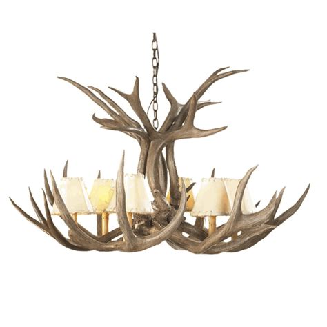 mule deer antler single tier chandelier 6 light