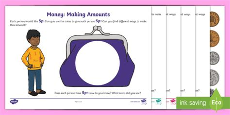 Money: Making Amounts to 20p Activity Sheets (teacher made)