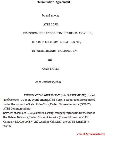 termination agreement sample termination agreement