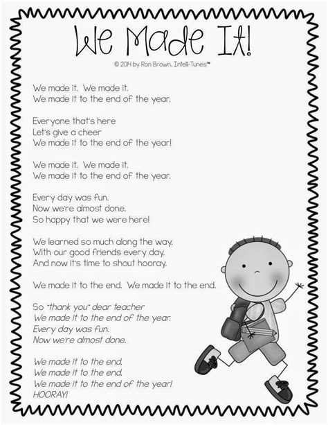 we made it end of the year song use for classroom 808 | 9e9c8c1d9132b171fb60bba5df374e78