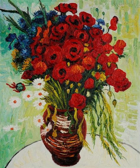 Vase With Poppies Vincent Gogh by Vase With Daisies And Poppies 1890 By Vincent Gogh