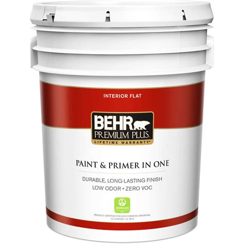 home depot interior paint behr premium plus 5 gal ultra white flat zero voc
