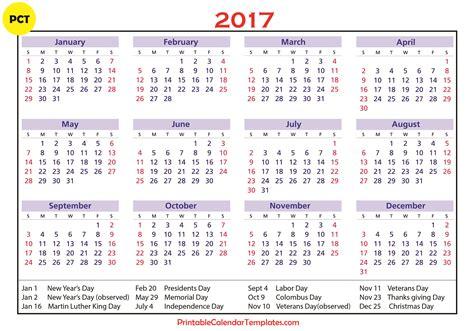 Free Calendar Template 2017 2017 Calendar With Holidays Weekly Calendar Template