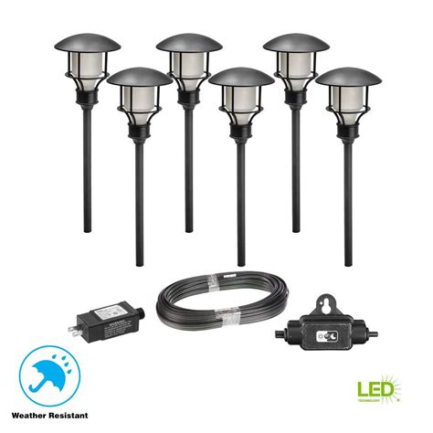 Led Pathway Lights by Hton Bay Low Voltage Black Outdoor Integrated Led