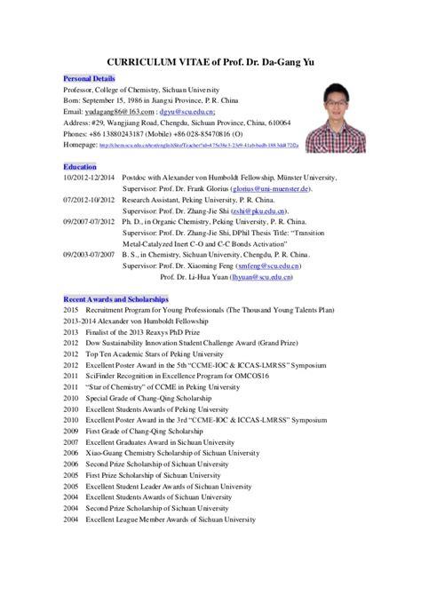 College Professor Curriculum Vitae Sle by Cv Of Prof Dr Da Yu