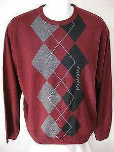 new mens red argyle sweater xl geoffrey beene classic