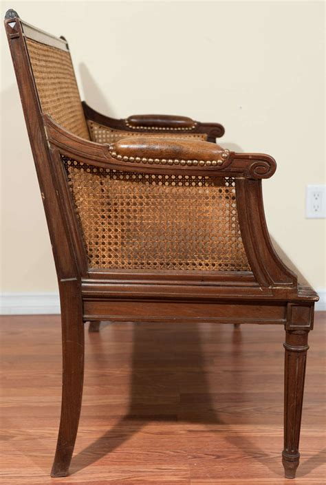 canapé louis 16 louis xvi style walnut caned back canape at 1stdibs