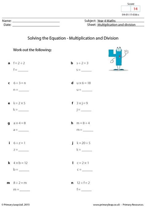 solving the equation multiplication and division