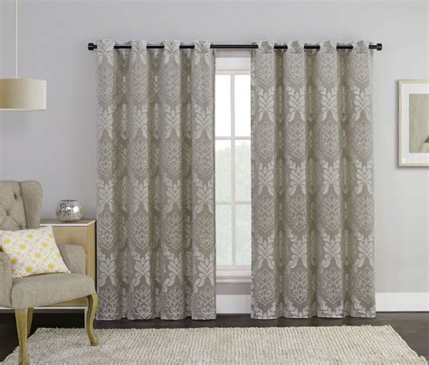 2 Grommet Curtains by Set Of 2 Taupe Jacquard Grommet Window Curtain Panels