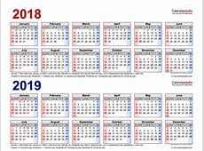 2018 19 Two Year Calendars Printable Templates Calendar