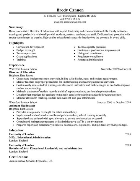 Exle Of Education Resume by Best Director Resume Exle Livecareer