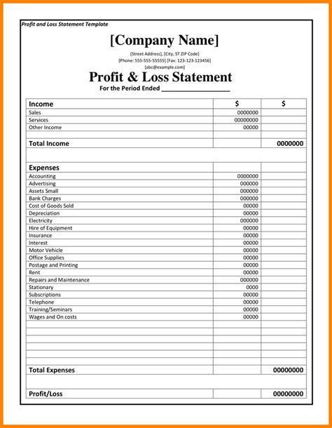profit  loss statement template case statement