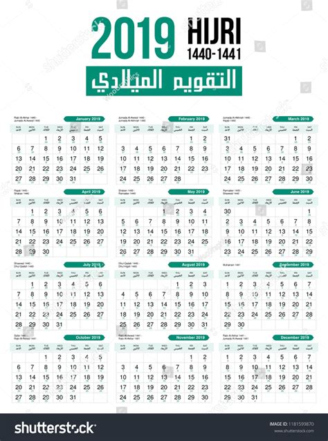 islamic hijri monthly calendar template stock vector royalty qualads