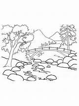 Mountains Coloring Pages Mountain Range Nature Cartoon Printable Template sketch template