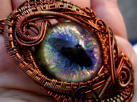 wire wrapped dragon eye copper rainbow peacock