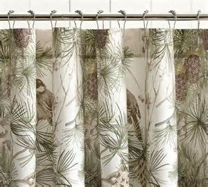 Pine Cone Shower Curtain by Snow Pine Bird Shower Curtain Pottery Barn